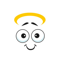 Angel emoji with sincere smile isolated emoticon vector