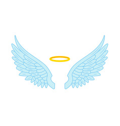 Angel wings and halo flat vector