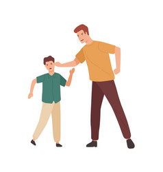 Angry father holding teenage son ear vector