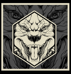 angry pitbull mascot head on a black background vector image