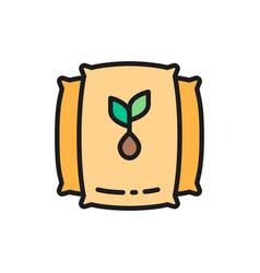 bag with seeds harvest flat color line vector image