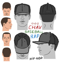 Baseball tennis rap cap and man head vector