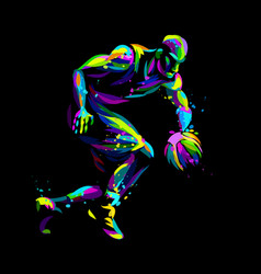 basketball player abstract multicolored vector image