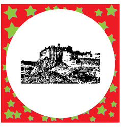 Black 8-bit edinburgh castle vector