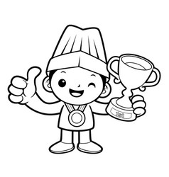 black and white happy cook mascot selected as a vector image