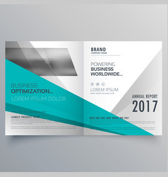 Blue and gray business brochure design in bifold vector