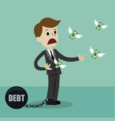 Businessman losing his money because of debt vector