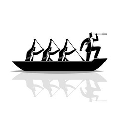 Businessman silhouette teamwork rowing boat vector