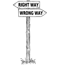 Cartoon direction sign with two decision arrows vector