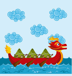 Cartoon happy rice dumplings paddling red dragon vector