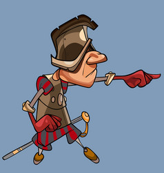 cartoon man dressed as a medieval guard points his vector image