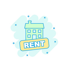 cartoon rent house icon in comic style rent sign vector image