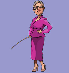 cartoon woman teacher with a pointer in her hand vector image