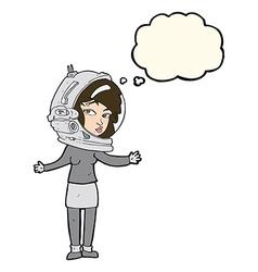 cartoon woman wearing astronaut helmet with vector image