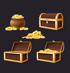 chest with golden coins chest bag and vector image