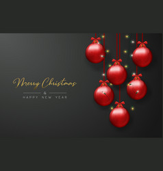 christmas card of red bauble balls and xmas lights vector image