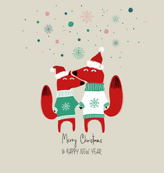christmas card with couple foxes vector image