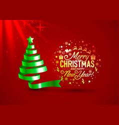 christmas tree tape golden design banner art vector image