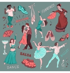Colored Hand drawn Dance collection vector image