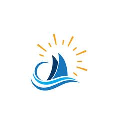 cruise ship logo template icon vector image