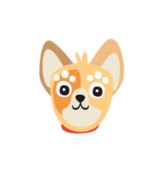 Cute little dog face funny cartoon animal vector