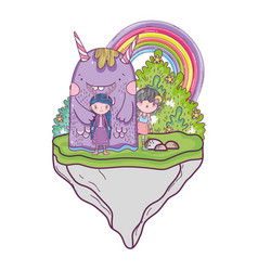 cute little fairies couple with monster in the vector image