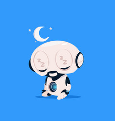 Cute robot sleep isolated icon on blue background vector