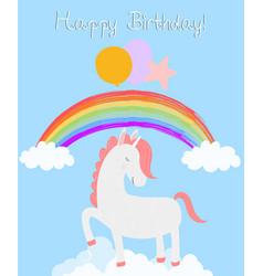 Cute unicorn happy birthday card white pony vector