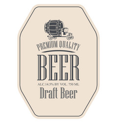 draft beer label with truck car vector image