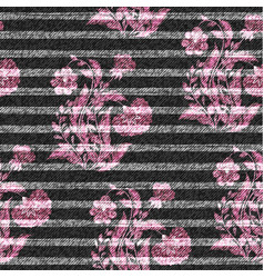 eastern floral seamless print on striped denim vector image