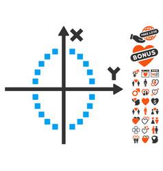 Ellipse plot icon with dating bonus vector