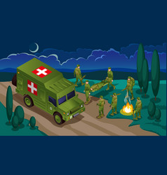 Evacuation wounded soldiers modern army vector