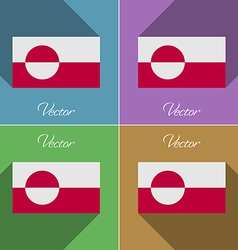 Flags Greenland Set of colors flat design and long vector image