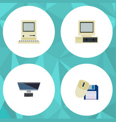 Flat icon computer set of pc computer mouse vector