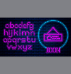 Glowing neon hanging sign with text open house vector