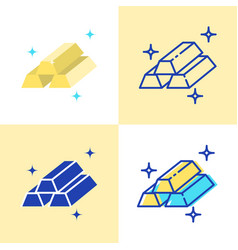 gold bar icon set in flat and line style vector image