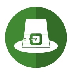 Green saint patrick day top hat with buckle shadow vector
