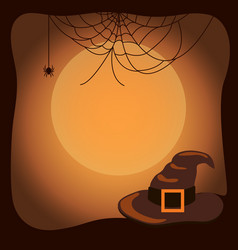 Halloween background with witch hat and spider web vector