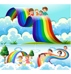 Happy children over the rainbow vector