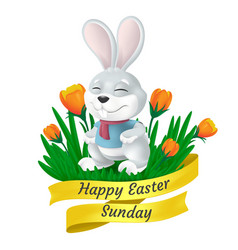 happy easter sunday golden ribbon with cute bunny vector image