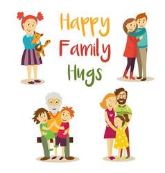 Happy family members hugging cartoon set vector