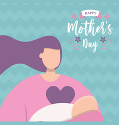 happy mothers day pink mom holding bacard vector image