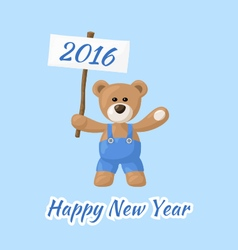 Happy New Year with Teddy Bear vector