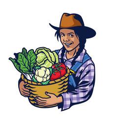 Happy woman farmer hold a bucket full vector