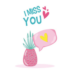 I miss you tropical card vector