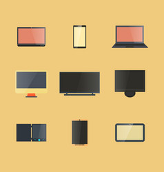 Icons digital devices with display vector