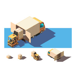 isometric 3d set shipment truck with forklift and vector image