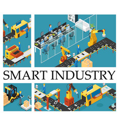 Isometric automated factory composition vector