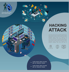Isometric hackers attack template vector