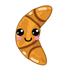 Kawaii cute happy croissant bread vector